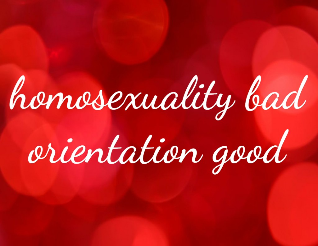 homosexuality bad orientation is good, what we are actually talking about